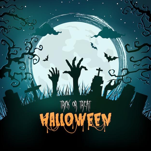 Bosque espeluznante de halloween en la noche Vector Premium