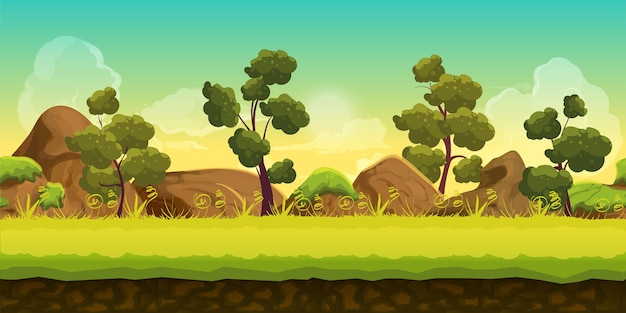Bosque y piedras Vector Premium
