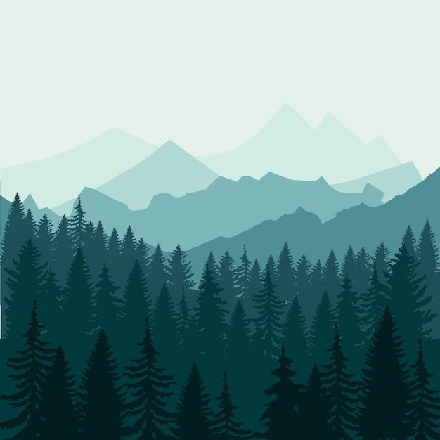 Bosque de pinos y montañas Vector Premium