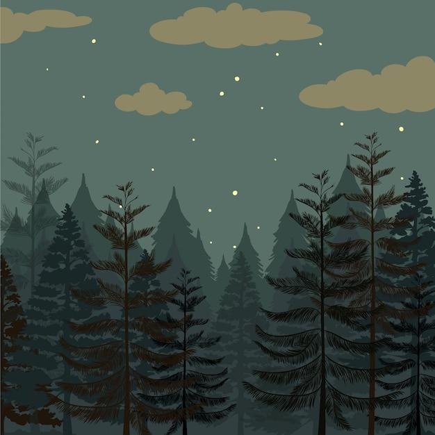 Bosque de pinos en la noche vector gratuito