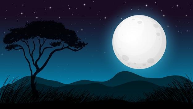Bosque de sabana en la noche oscura vector gratuito