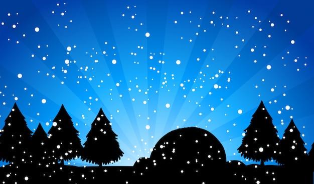 Bosque de silueta en la noche de nieve vector gratuito