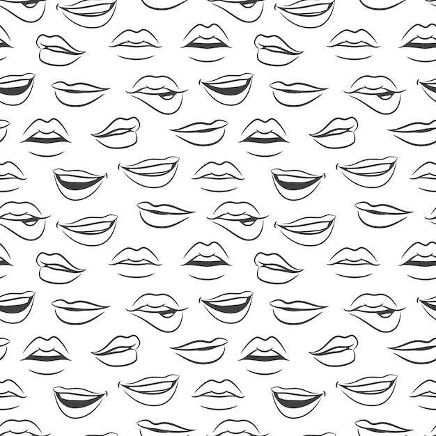Bosquejado mujer sexy labios de patrones sin fisuras Vector Premium