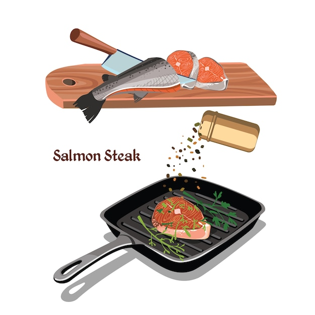 Bosquejo colorido concepto de cocina de filete de salmón vector gratuito