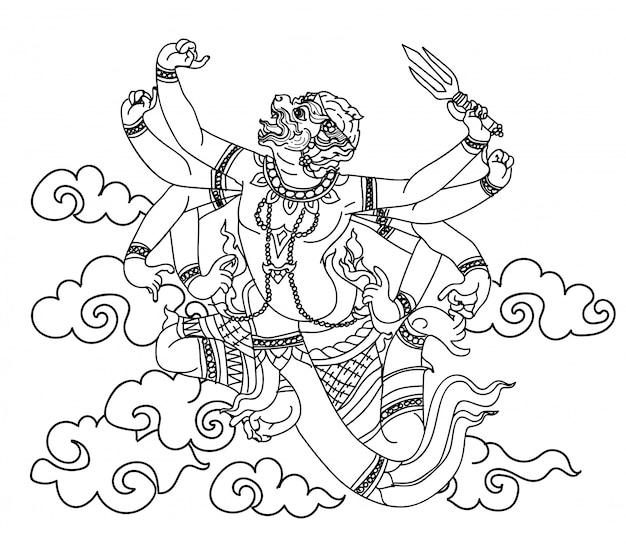 Bosquejo del dibujo de la mano de la literatura del patrón del mono tailandés del arte Vector Premium