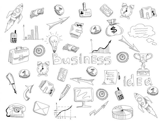 Bosquejo del esquema de los iconos de estrategia de negocios vector gratuito