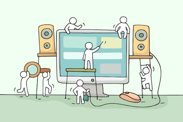 Vector Premium | Bosquejo de gente pequeña que trabaja con la computadora.  doodle lindo trabajo en equipo en miniatura con altavoces, mouse de  computadora. ilustración de dibujos animados dibujados a mano para
