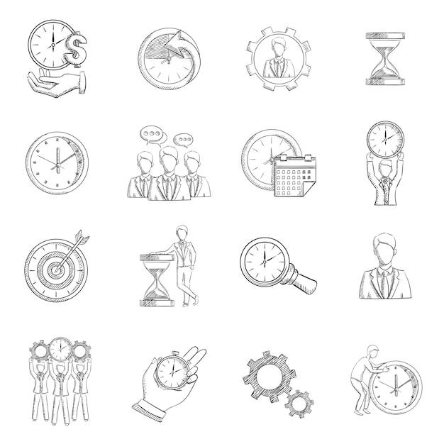 Bosquejo de gestión de tiempo vector gratuito