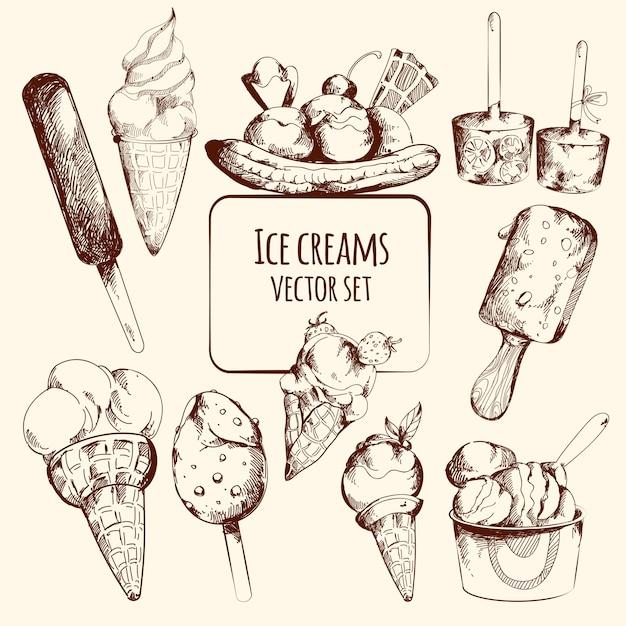 Bosquejo de helado vector gratuito