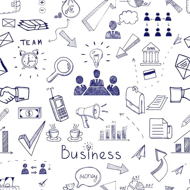 Bosquejo de iconos de negocios vector gratuito
