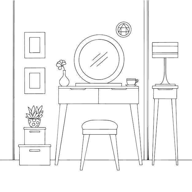Bosquejo del interior. tocador y otros muebles. Vector Premium