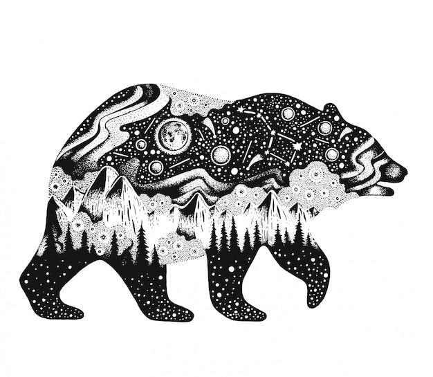 Bosquejo oso con montañas y bosque Vector Premium