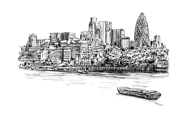 Bosquejo del paisaje urbano de londres a lo largo del río dibujar a mano Vector Premium