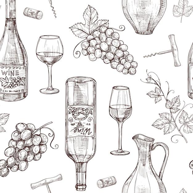 Bosquejo vino de patrones sin fisuras. botellas de vino sacacorchos con copa de vino y uva. bodega, restaurante vector menú textura Vector Premium