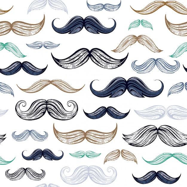 Bosquejo vintage bigotes de patrones sin fisuras. Vector Premium
