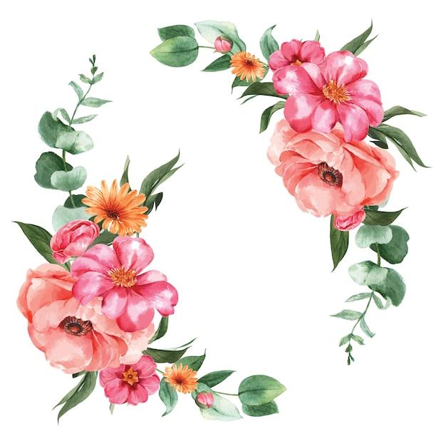 Botánico flor acuarela ramo elegancia floreciendo vector gratuito