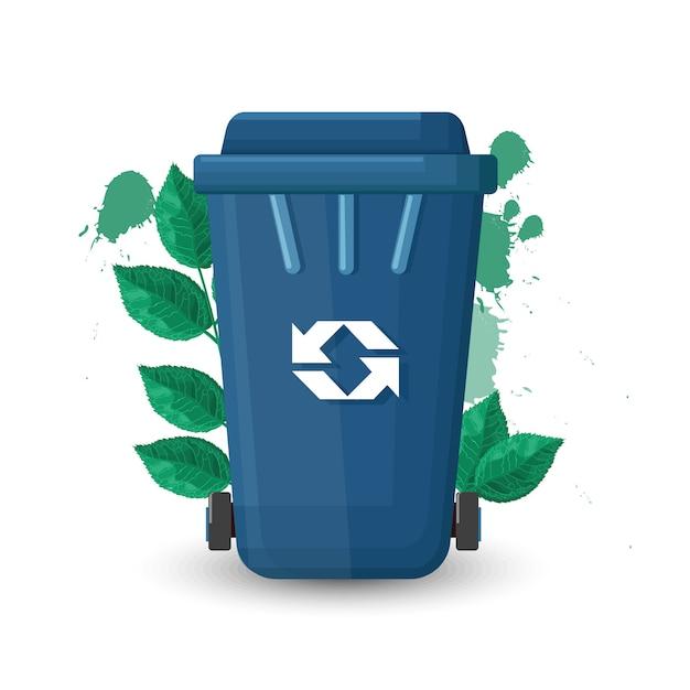 Bote de basura azul con tapa y signo de ecología. hojas verdes en el fondo vector gratuito