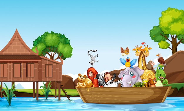 Bote de remos de muchos animales lindos vector gratuito