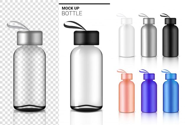 Botella 3d, agitador de plástico transparente realista agua y bebida Vector Premium
