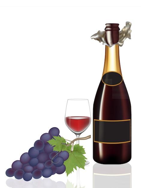 Botella abierta de vino, copa de vino y uva, ilustración Vector Premium