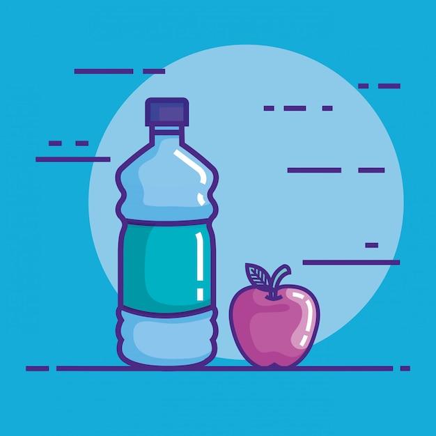 Botella de agua con manzana vector gratuito