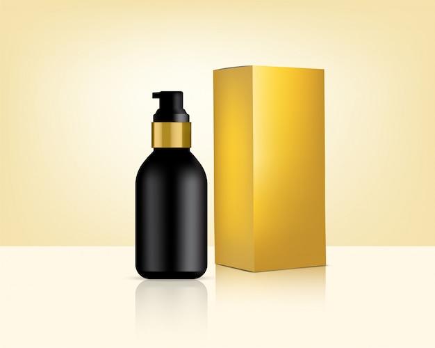 Botella bomba maqueta realista cosmética de oro y caja para ilustración de fondo de producto de cuidado de la piel. atención médica y diseño de concepto médico. Vector Premium