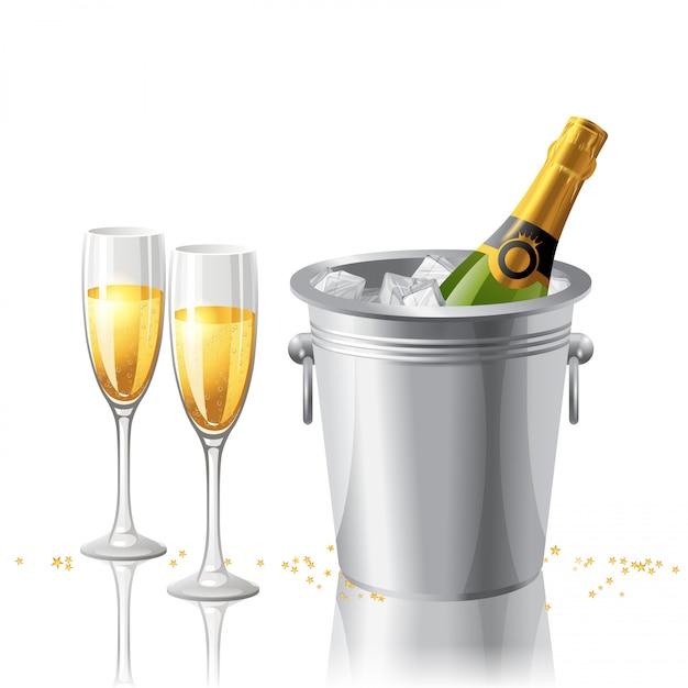 Botella de champagne y copas Vector Premium