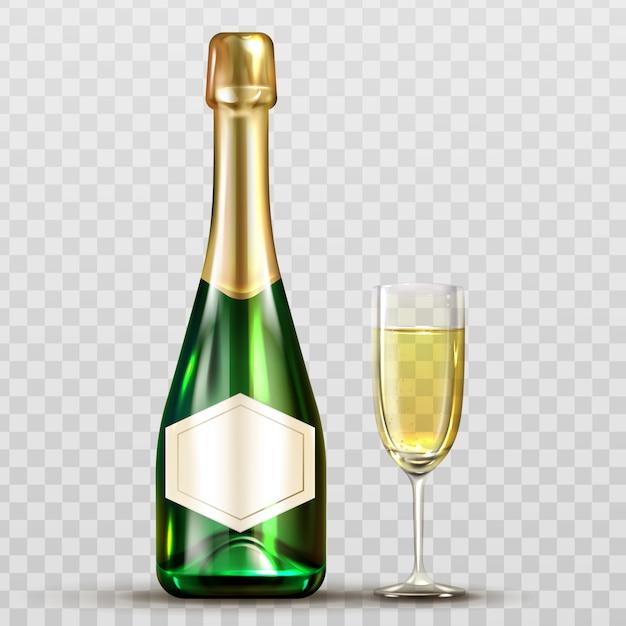 Botella de champán y copa de vino aislado clip art vector gratuito