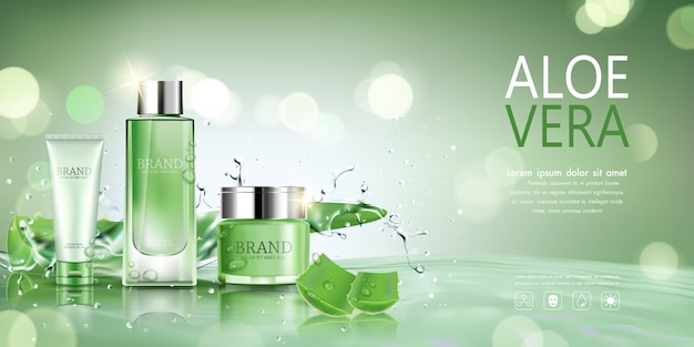 Botella cosmética con aloe vera para publicidad. Vector Premium