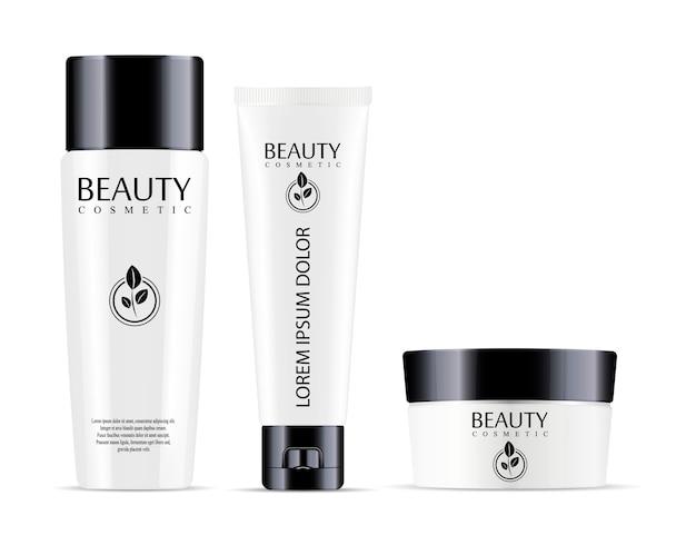 Botella cosmética para champú y jarra con tubo para crema. Vector Premium