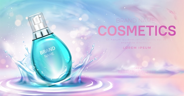 Botella cosmética de suero en la superficie del agua que salpica vector gratuito