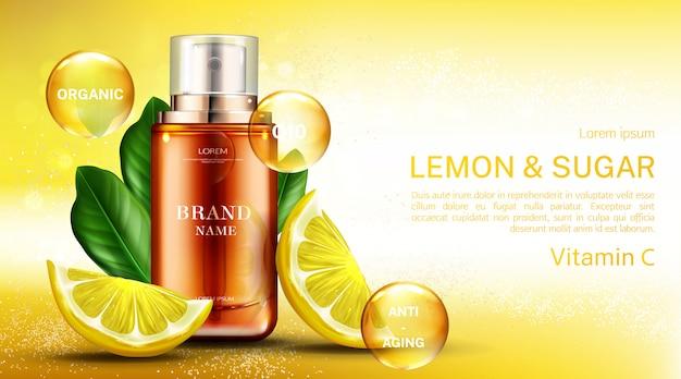 Botella cosmética de vitamina c¡ con limón y azúcar vector gratuito