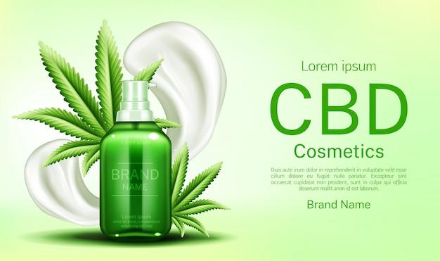 Botella de cosméticos cbd con frotis de crema y hojas vector gratuito