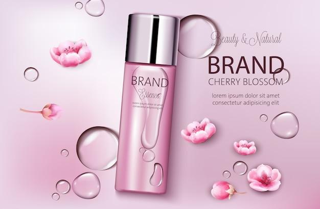 Botella de cosméticos flor de cerezo. colocación de productos. belleza natural. lugar para la marca. fondo de gotas de agua. s realista vector gratuito
