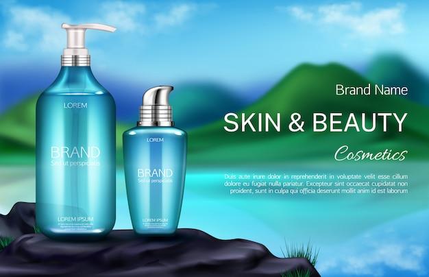 Botella de cosméticos en el fondo del paisaje de montaña vector gratuito
