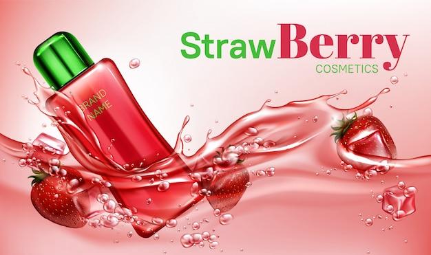 Botella de cosméticos de fresa flotando en el agua vector gratuito