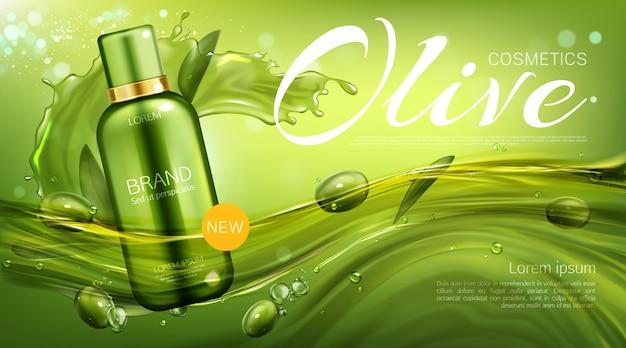 Botella de cosméticos de oliva, producto de belleza natural, tubo cosmético ecológico flotante con bayas y hojas. plantilla de banner promocional de champú o loción vector gratuito