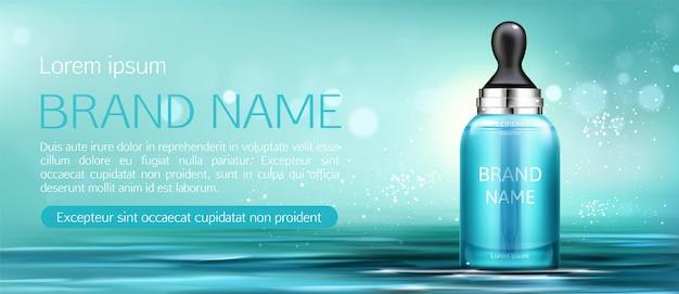 Botella de crema cosmética con pipeta maqueta banner vector gratuito