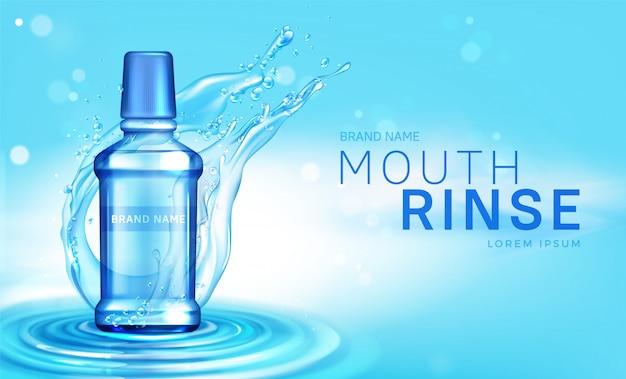 Botella de enjuague bucal en cartel de salpicaduras de agua vector gratuito