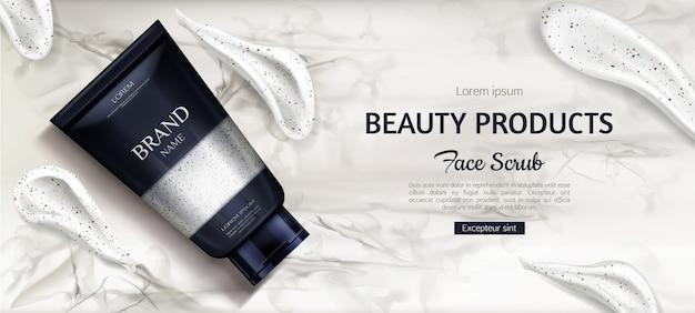 Botella exfoliante cosmética, producto cosmético de belleza para el cuidado facial en mármol vector gratuito