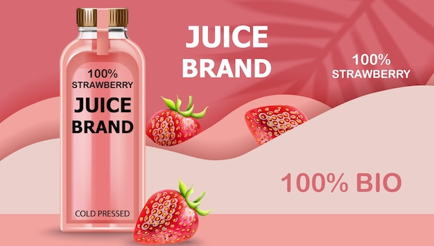 Botella de jugo bio prensado en frío con fresas y ondas rosadas de fondo. realista vector gratuito