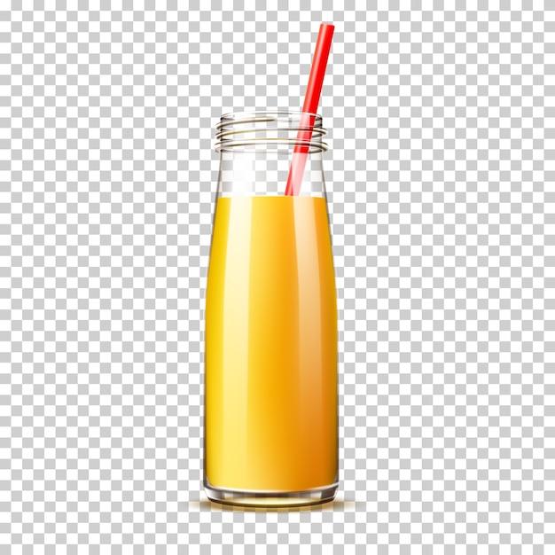 Botella de jugo de naranja realista con pajita sin tapa sobre fondo transparente Vector Premium