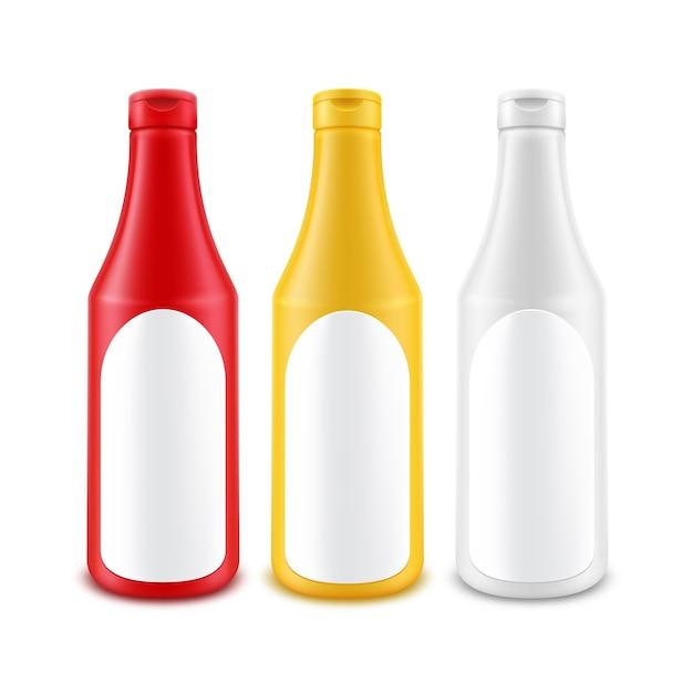 Botella de ketchup de mostaza de mayonesa amarilla roja blanca de plástico en blanco para marcar con etiqueta Vector Premium