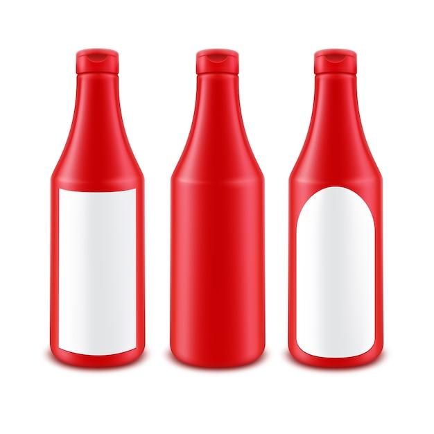 Botella de ketchup de tomate rojo de plástico en blanco para marcar con etiqueta blanca aislada Vector Premium