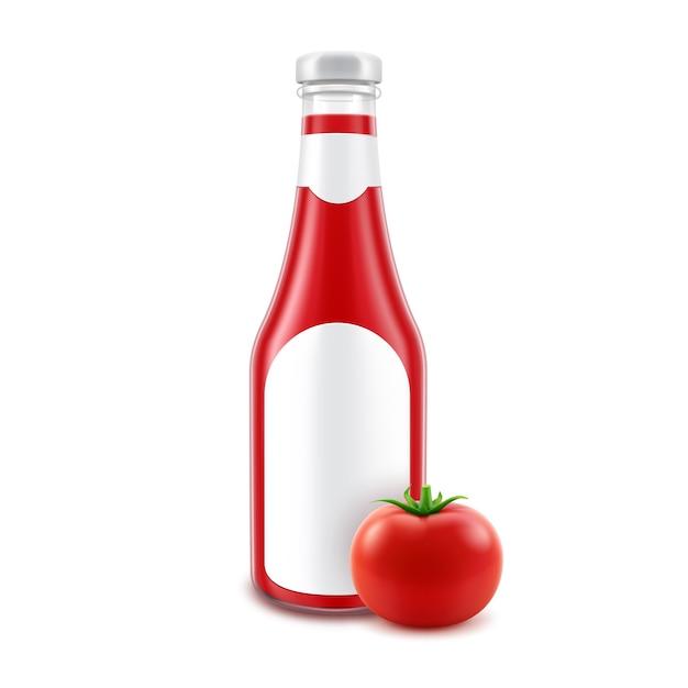 Botella de ketchup de tomate rojo de vidrio en blanco para la marca con etiqueta y tomate fresco aislado sobre fondo blanco. Vector Premium