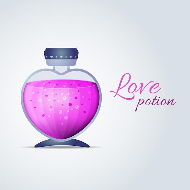 Botella con líquido rosa en forma de corazón. poción de amor para tarjetas de san valentín. ilustración vectorial vector gratuito