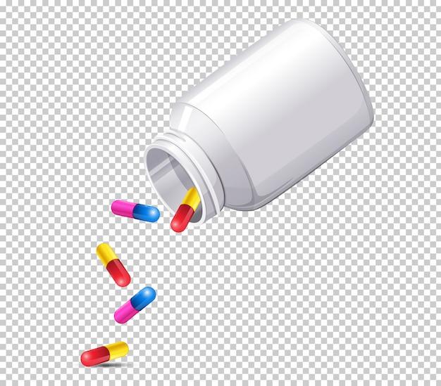 Una botella de medicina en el fondo transparente vector gratuito