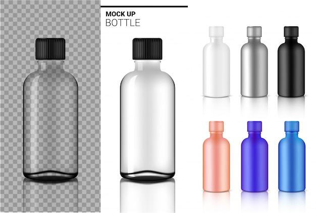 Botella mock up realista transparente blanco, negro y ampolla de vidrio o gotero de plástico embalaje Vector Premium