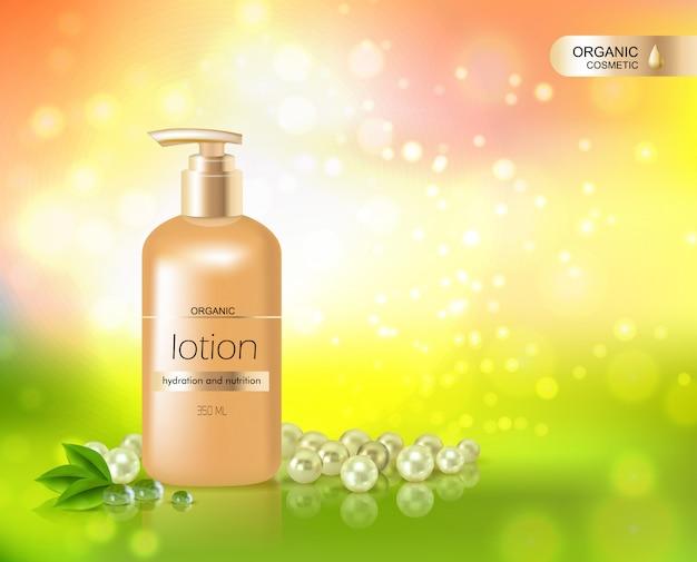 Botella de oro de loción para la hidratación de la piel vector gratuito
