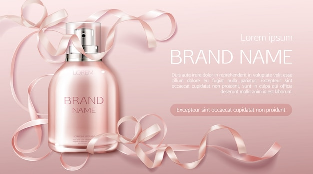 Botella de perfume flor fragancia diseño cosmético vector gratuito
